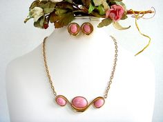 Vintage Monet Demi Parure Necklace & Earrings Simulated Rose Quartz by EyeSpyGoods on Etsy