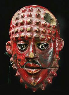 Red Ogoni mask from Nigeria, Africa, African masks