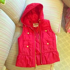 """Juicy Couture Hooded Down Vest in Red OFFERS ENCOURAGED!!! Adorable peplum hooded down best. Amazing red color. The inside in quilted and features an awesome """"JC"""" logoZ gold buttons and 4 front pockets. Signature """"J"""" zip. Completely flawless, like new. It's so warm and comfy and I hope someone will love it. So stylish and trendy!! Juicy Couture Jackets & Coats Vests"""