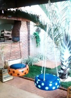 Diy Playground, Kids Outdoor Play, Backyard For Kids, Outdoor Projects, Garden Projects, Tire Garden, Tire Furniture, Tire Art, Diy Home Crafts