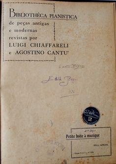Bibliothéca Pianistica de peças antigas e moderns revistas por Luigi Chiaffareli e Agostino Cantu, anos 30: