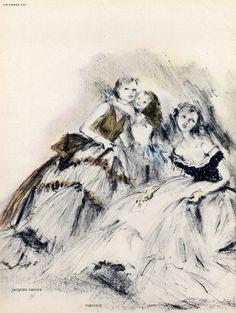 Lila de Nobili 1948 P1 Jacques Griffe & Virginie, Evening Gown, Fashion Illustration