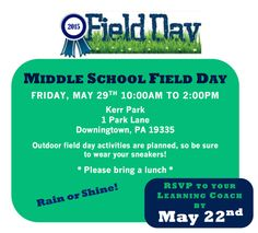 Middle School Field Day May 29, 2015