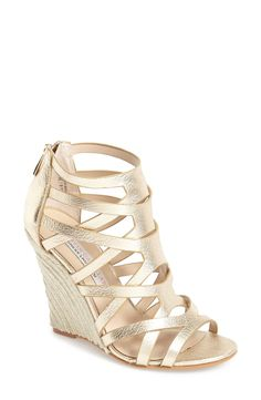 Adding these gold espadrille wedges to the spring wardrobe!