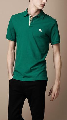 "I need to keep an eye out for the Forest Green. It's always ""Out of stock."" Burberry - PIQUÉ COTTON POLO SHIRT"