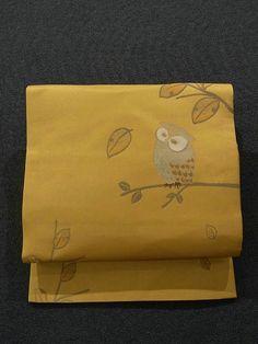 Cute Owl On Branch Pattern Nagoya Obi