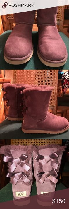 EUC UGG Bailey Bow II Maroon Boots This is a beautiful pair of Bailey Bow II UGG Maroon boots.  They are in perfect condition inside and out!!!!  What a find! UGG Shoes Ankle Boots & Booties