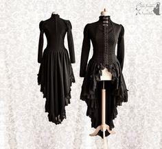 Victorian cardigan, black Steampunk robe, lace dress overcoat, Malacia, Somnia Romantica, size small see item details for measurements