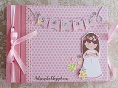 Hola!   Me encanta compartir un Libro de Firmas que hice para una niña preciosa con papeles de la colección de comunión para niñas de Ani...
