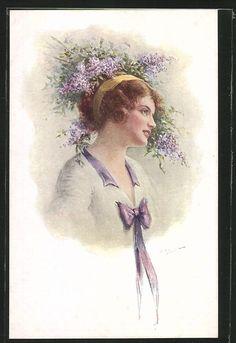 old postcard: AK junge Frau mit gelbem Band im Haar und lila Schleife
