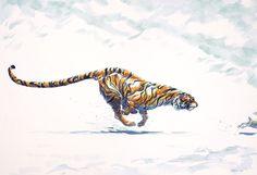 by David Colman Running Drawing, Running Art, Character Sketches, Character Design, Tiger Tattoo Sleeve, Tiger Drawing, Tiger Illustration, Drawing Challenge, Big Cats