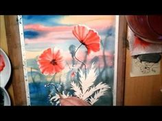 Poppy Flowers in Watercolor. Painting process time lapse.