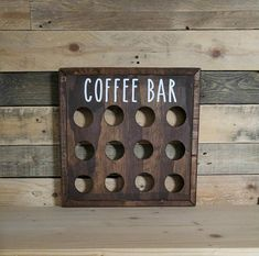 Rustic Wood Coffee Pod Storage  K Cup Holder  Coffee Station