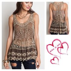 5  Lace Racer Back Top M/L Sheer Lace Racer Back Tank  Fabric: COTTON BLEND. Color is mocha  No trades  ✅ Reasonable offers welcomed. ✅ Happy Poshing  Tops