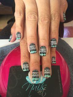 Acrylic nails, nails art, black nails, tribal nails