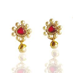 Designer Indian Pearl Diamond Earring Set-BONYHUB