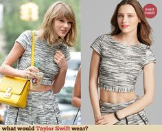 Grey space dyed crop top and matching skirt with yellow purse Yellow Purses, Taylor Swift Style, Alice Olivia, Tweed, Celebrity Style, Style Inspiration, Crop Tops, Space, Outfit