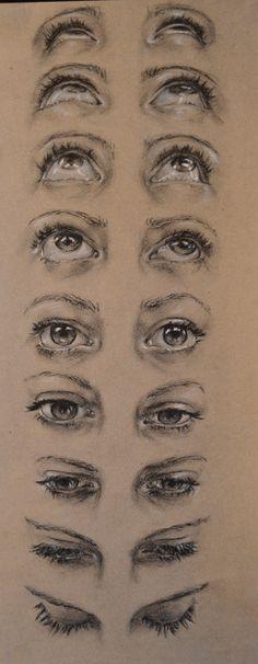 Рисуем глаза под разным углом рисунок, глаза, бумага, уголь, длиннопост