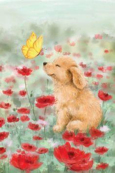Canvas Artwork, Canvas Art Prints, Animal Drawings, Cute Drawings, Butterfly Canvas, Print Artist, Cute Illustration, Dog Art, Cute Baby Animals