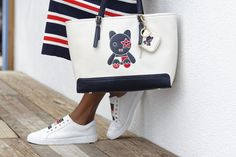 Cheeky stripes with the tote to match. Silly is the new style this spring with new bags for her: