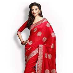 #Red #Saree with Blouse