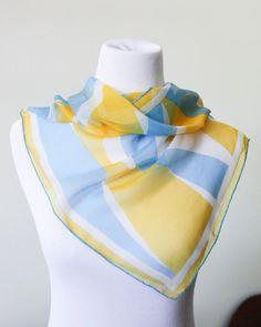 Vera Neumann Blue and Yellow Sheer Scarf by SecondsByJaneElaine