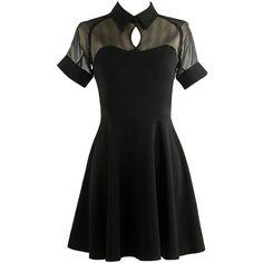 LUCLUC Black Lapel Short Sleeve Skater Dress ($44) ❤ liked on Polyvore featuring dresses, skater dress, short-sleeve dresses, short sleeve dress, short sleeve skater dress and short-sleeve skater dresses