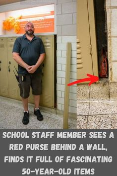 """Sometimes, timing is everything, and one student's bag was about to prove to the world just how true that virtue is. It was just a regular day in May 2019, when a custodian worker was called to repair some minor damages in a school hallway. Little did anyone know, that this """"damaged"""" gap between the wall and the lockers was a secret gold-mine for what life was like over six decades ago. Fenrir Tattoo, Atla Tattoo, School Staff, Bum Tattoo, Tattoo Quotes About Strength, Discreet Tattoos, Aloe Vera Face Mask, Edgy Makeup, Cosmetic Tattoo"""