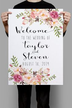 Printable Wedding Sign Welcome Wedding Sign by HappyLifePrintables