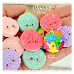 Kawaii oreo charms Miniature Food Jewelry Polymer Clay Charm Handmade Jewelry by Sweet Clay Creations