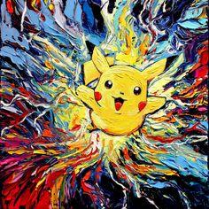 Pikachu Pokemon Art - Starry Night CANVAS print van Gogh Never Caught Them All Aja 8x8, 10x10, 12x12, 16x16, 20x20, 24x24, 30x30 choose