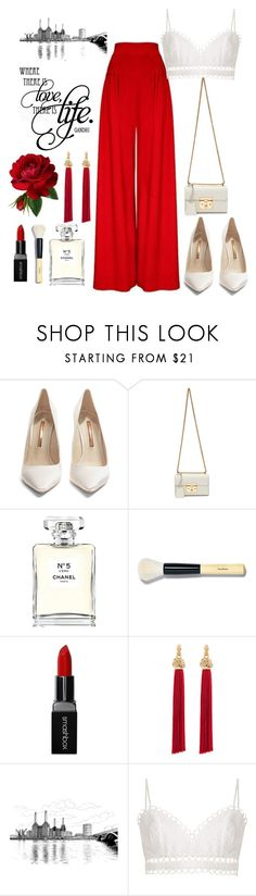 """""""Red clap"""" by laila-mammadova ❤ liked on Polyvore featuring Hebe Studio, Sophia Webster, Gucci, Chanel, Bobbi Brown Cosmetics, Smashbox, Yves Saint Laurent and Zimmermann"""