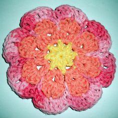 Large Flat Flower Motif / Coaster Free Crochet Pattern « The Yarn Box The Yarn Box