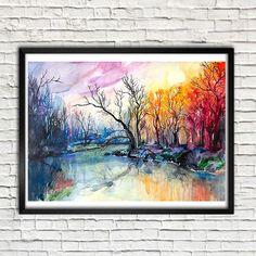 Peinture aquarelle de paysage de rivière d'impression, art nature, paysage aquarelle, peinture de paysage, aquarelle originale, illustration