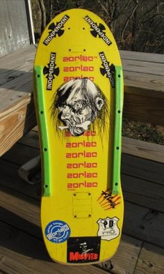 Zorlac Double Cut Shrunken Head in yellow with red letters. Rare color way! Real Skateboards, Vintage Skateboards, Seek And Destroy, Skate And Destroy, Shrunken Head, Skateboard Decks, Skateboarding, Letters, Yellow
