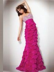 A-line Strapless Sleeveless Taffeta Formal Dress/Prom Dresses With Beaded