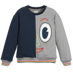 This sweatshirt by No Added Sugar is uniquely designed with a grey and navy blue side, decorated with a colourful half face. It is made in a cosy cotton jersey with stretchy ribbed trims, and can be easily machine washed.