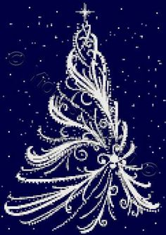 White Christmas tree cross stitch kit, pattern