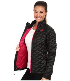 The North Face ThermoBall™ Full Zip Jacket TNF Black/Cerise Pink - 6pm.com