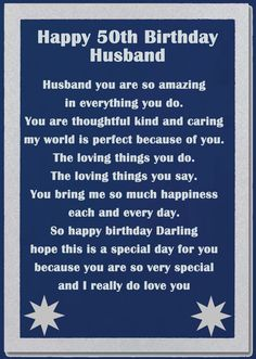 50th Birthday Poems For Husband Coaster A Husband