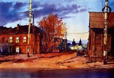 Vjacheslav Kurseev Academic Art, Art Watch, Civil Engineering, Old Houses, Watercolor Paintings, Watercolors, Home Art, Graphic Design, City