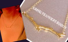 Gold necklace, tree branch minimalist design from CamelysUnikatBijoux by DaWanda.com