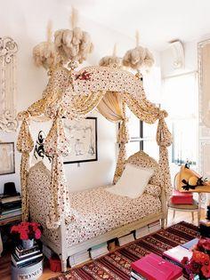 Designer Hervé Pierre's Louis XVI canopied bed, à la polonaise, looks like it belongs in a story book.