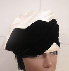 Vintage Turban Hat.  Satin Turban Hat.  Velvet by MISSVINTAGE5000