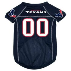 """Houston Texans Pet Dog Football Jersey MEDIUM by NFL. $16.95. Medium: 14""""-15"""" length; 16""""-20"""" girth; 11""""-14"""" neck. Houston Texans pet jersey - size MEDIUM. This great-looking jersey features screened-on logos on the sleeves, screened-on team name/number on the back and reverse stitching. The jersey has an updated look and feel - more like an actual player jersey - quality mesh, with silk-like accents on the shoulders/sleeves and down the sides! Please see approx..."""