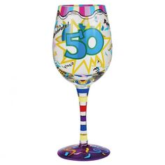 15oz 50th Birthday Wine Glass - A Touch Of Glass Stemware - Events