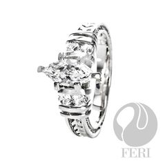 FERI Marry Me Marquise - Ring  - 925 fine sterling silver - 0.5 micron natural rhodium plating - Set with AAA white cubic zirconia - Dimension:  This is a piece worn and photographed on the red carpet at the International Toronto Film Festival of 2010.  Invest with confidence in FERI Designer Lines