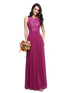 00f179c53bdb7 [$109.99] A-Line Jewel Neck Floor Length Chiffon / Lace Bodice Bridesmaid  Dress with Sash / Ribbon by LAN TING BRIDE® / Beautiful Back
