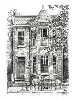 Dream House Drawing, House Sketch, Pen Sketch, Art Sketches, Art Drawings, Drawings Of Buildings, Pencil Drawings, Line Drawing, Painting & Drawing