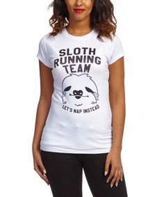 Look at this White 'Sloth Running Team' Crewneck Tee on #zulily today!